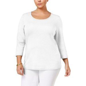 Women's Scoop Neck Cotton 3/4 Sleeves Shirt